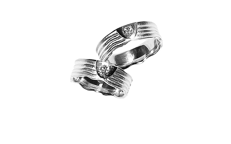 45167+45168-wedding rings, white gold 750 with brillant