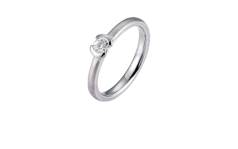 45193-engagement or adornment ring , whitegold 750 with brillant