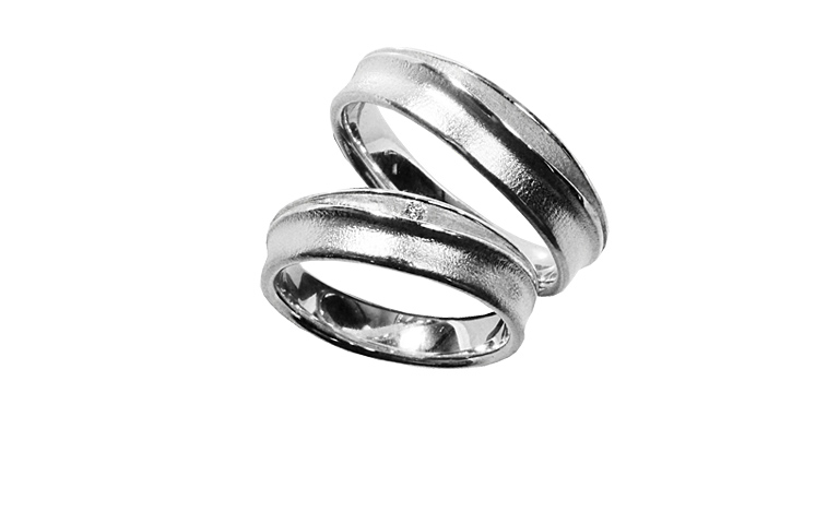 45198+45199-wedding rings, white gold 750 with brillant