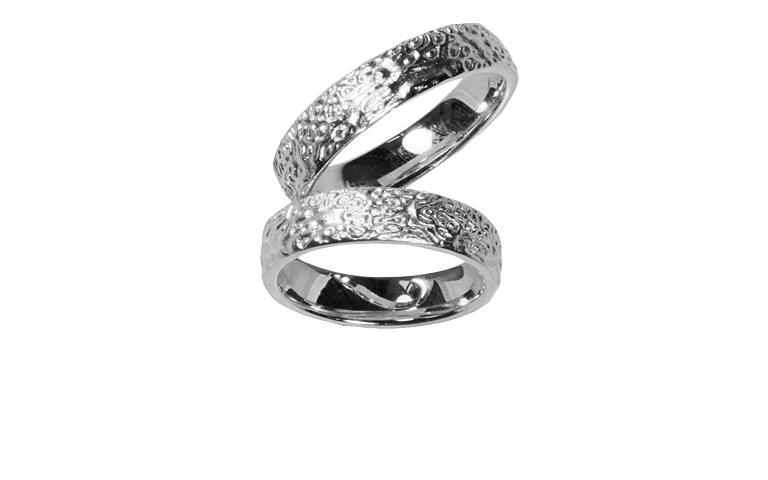 45202+45203-wedding rings, white gold 750