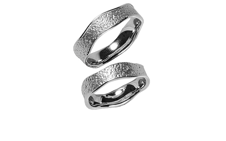 45210+45211-wedding rings, white gold 750