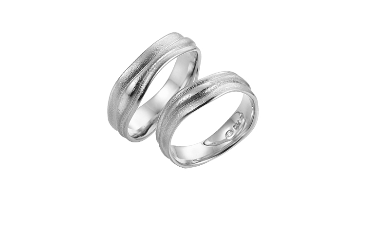 45225+45226-wedding rings, white gold 750