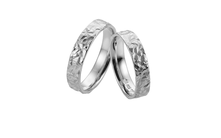 45233+45234-wedding rings, white gold 750