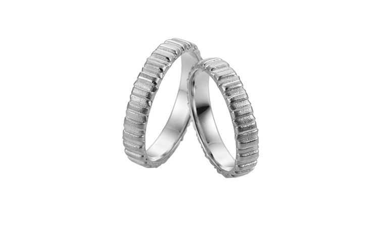 45235+45236-wedding rings, white gold 750