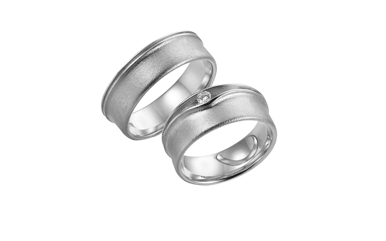 45244+45245-wedding rings, white gold 750 with brillant