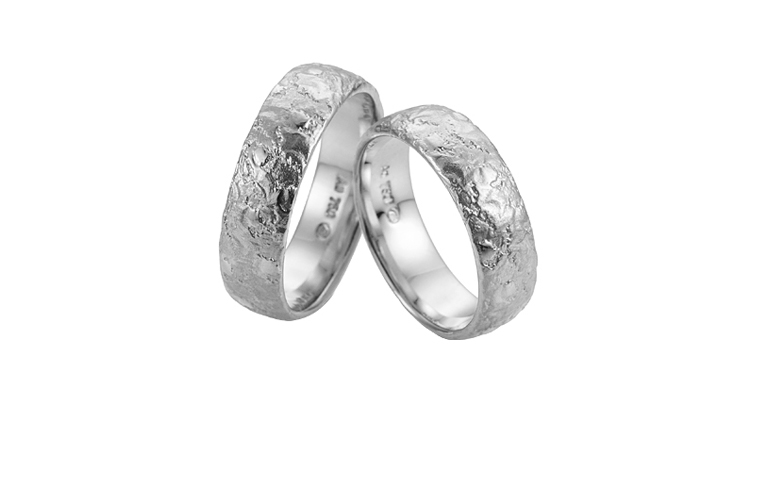 45246+45247-wedding rings, white gold 750