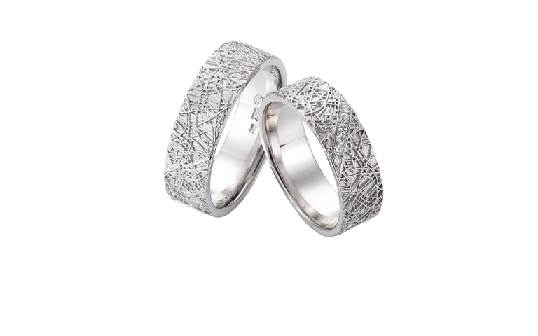 45253+45254-wedding rings, white gold 750