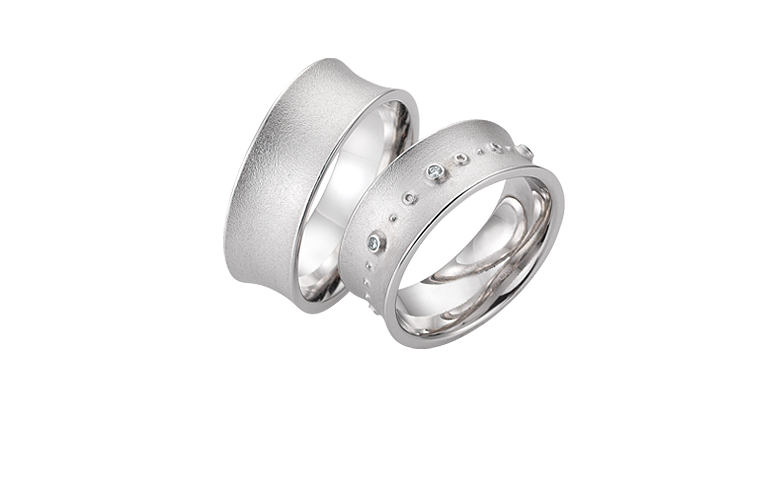 45255+45256-wedding rings, white gold 750 with brillants