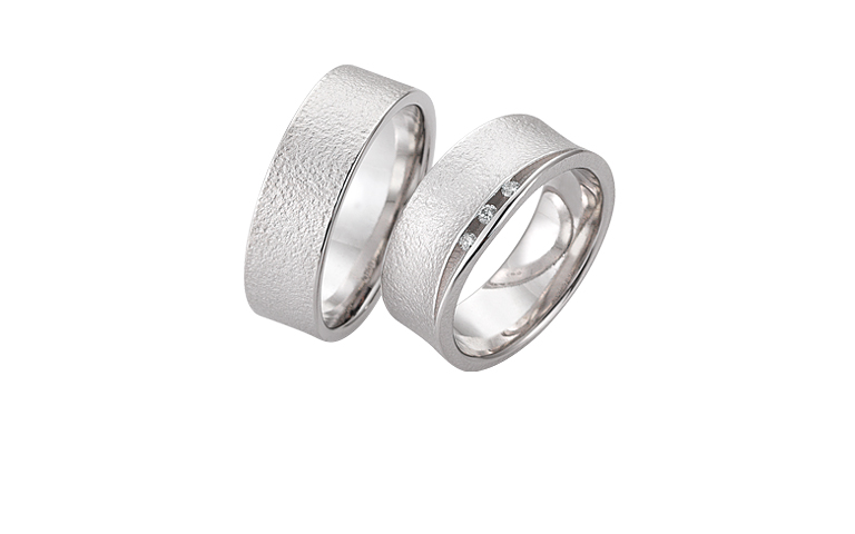 45257+45258-wedding rings, white gold 750 with brillants